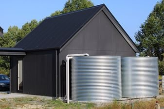 Twin 15000 litre tanks feeding whole of house